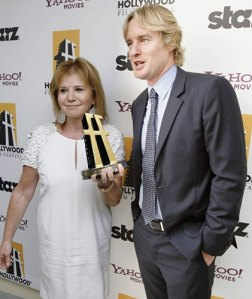 Letty Aronson (who produced Midnight In Paris) with Owen Wilson