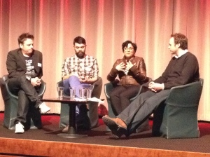 The Directors of the BAFTA-nominated Animated Short Films (left to right: Robert Morgan, Grant Orchard, Afarin Eghbal and Chair Will Massa)
