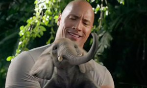 The Rock with a cute elephant...this movie actually improved its box office spot!