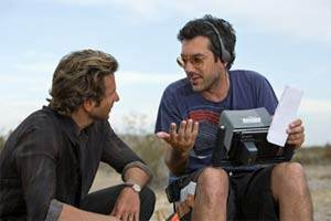 Todd Phillips and Bradley Cooper during the filming of The Hangover II