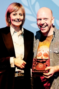 """Janet Harrison pictured with David Lilley - winner of the Audience Award for his Short Film """"Office Orphan"""""""