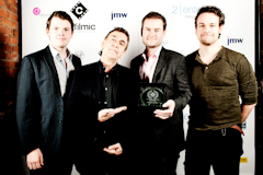 Members of the So and So Forth Sketch Group display their award for Best Comedy Sketch