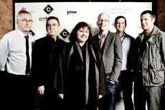 From left to right: Henry Normal, Charlie Hanson, Leslee Udwin, Kristian Smith, Steve North, Jon Montague